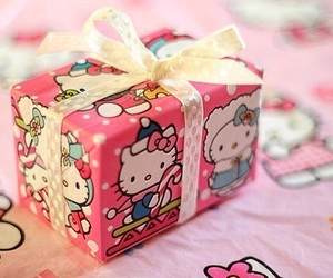 hello kitty, pink, and christmas image