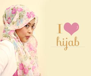 chiffon, flower, and hijab image