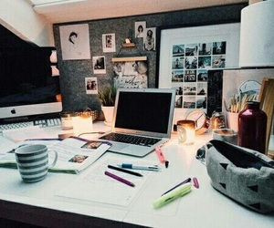 study, school, and desk image