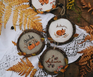 autumn, diy, and embroidery image