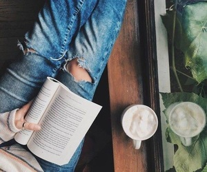 book, coffee, and jeans image
