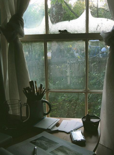 window, vintage, and rain image