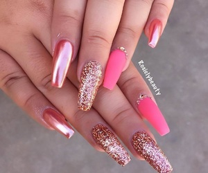 glitter nails, matte nails, and pinknails image