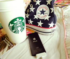 starbucks, ipod, and converse image