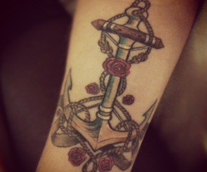 anchor, rose, and tattoo image