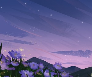 art, flowers, and sky image