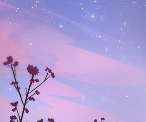 wallpaper, flowers, and stars image