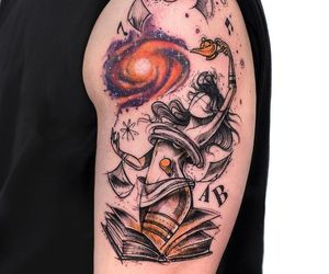 book, music, and tattoo image
