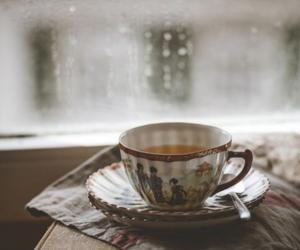 book, rain, and tea image
