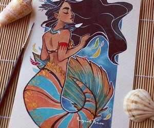 pocahontas, disney, and mermaid image