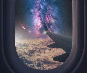 sky, plane, and galaxy image