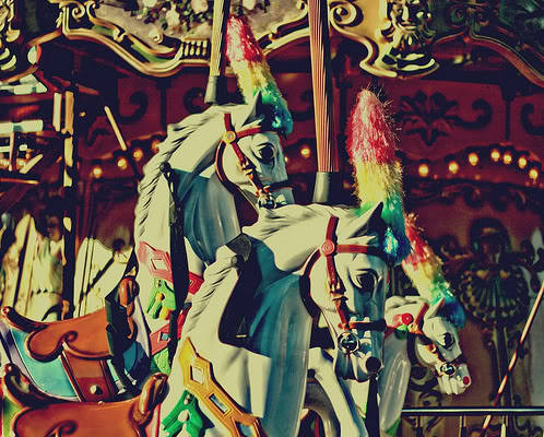 carousel, colorful, and horse image