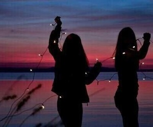 girl, light, and friends image