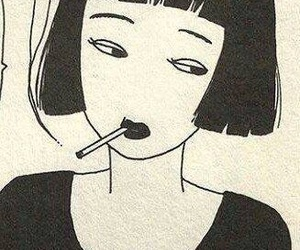girl, art, and smoke image