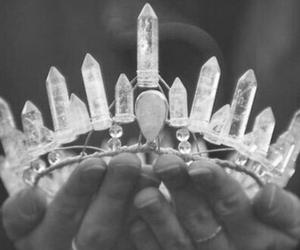black and white, corona, and diamons image