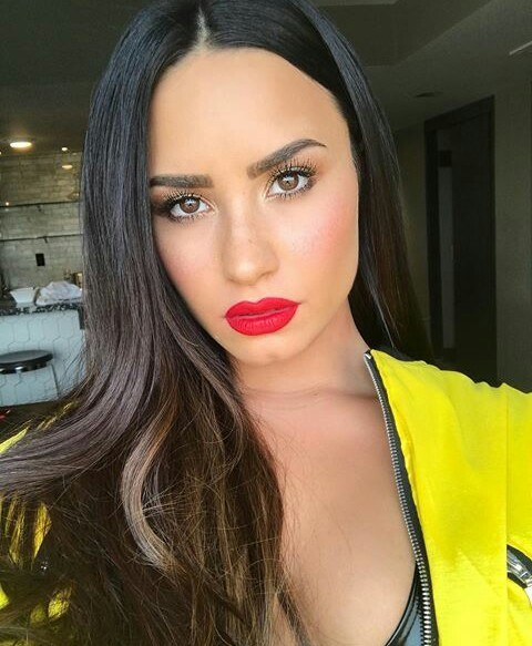 demi lovato, makeup, and selfie image