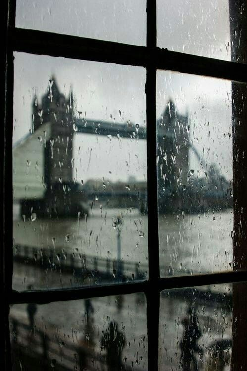 london, rain, and window image