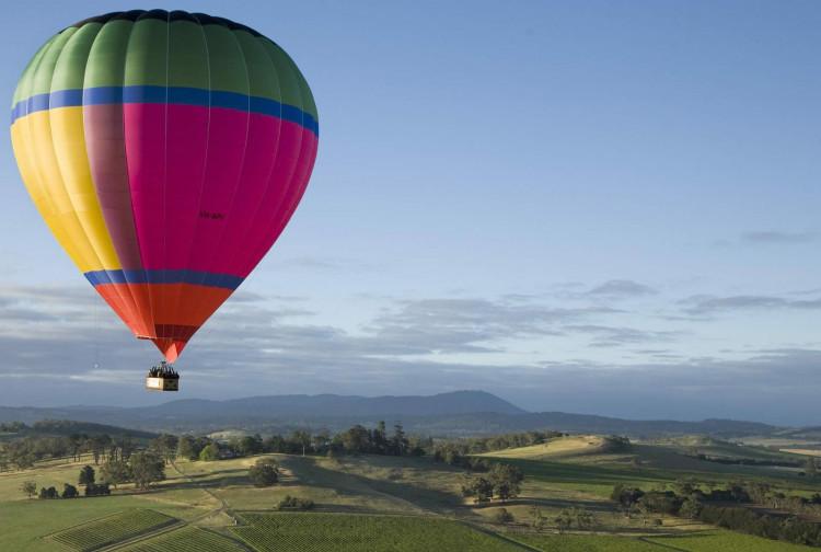 balloon, flight, and landscape image