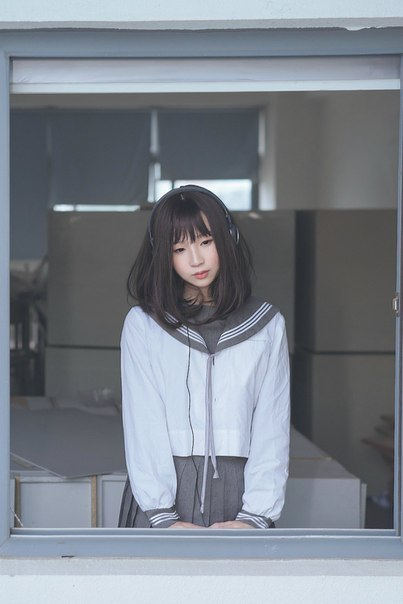 asian girl, school, and school uniform image