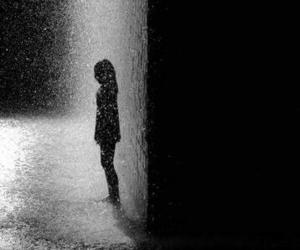 rain, black and white, and lonely image