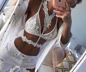 bralette, mirror selfie, and lace image