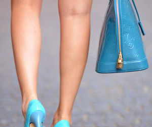 blue, blue high heels, and high heels image