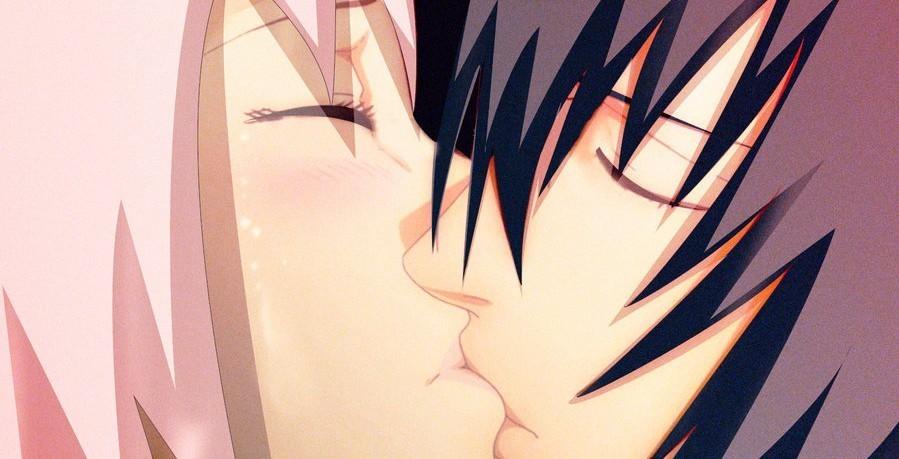 sasusaku, kiss, and sakura image