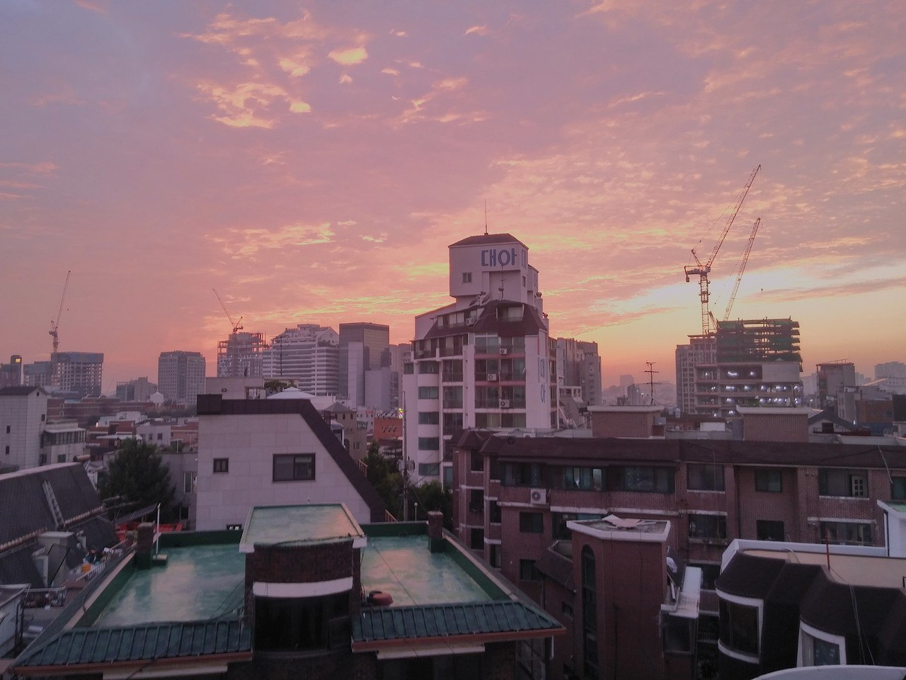 pink, sky, and korea image