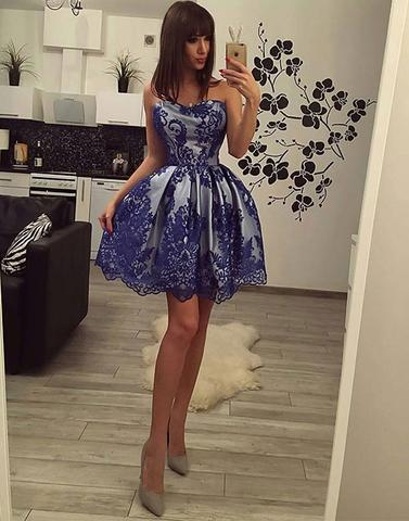 blue dress, homecoming dress, and evening dress image