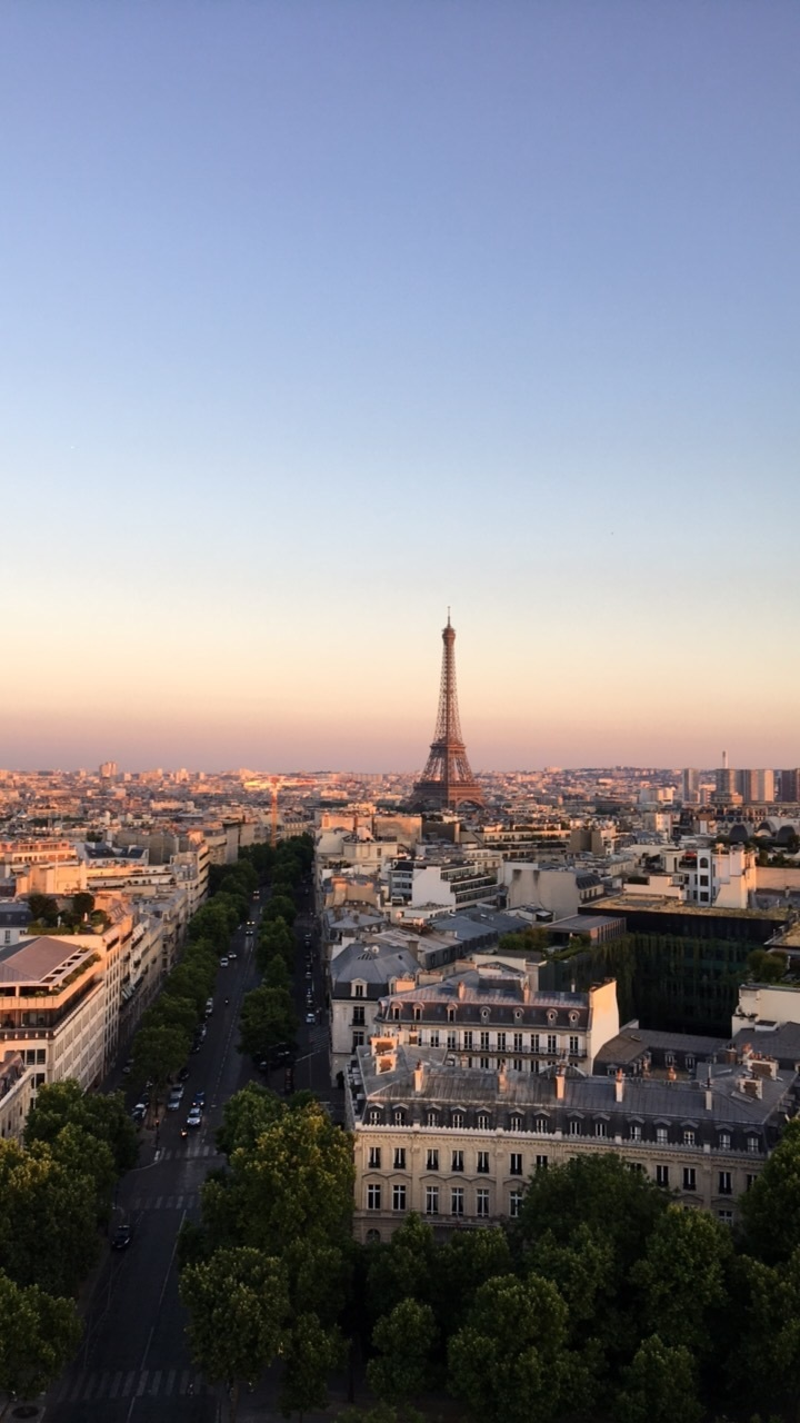 eiffel tower, paris, and sunset image