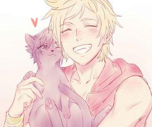 anime boy, noctis lucis caelum, and cat image