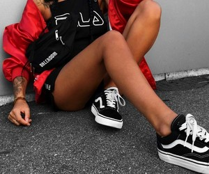 black and red, fashion, and Fila image