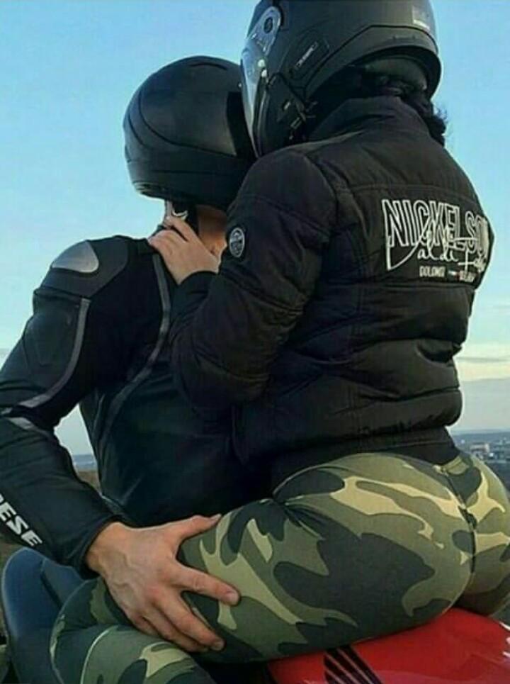 badass, couple, and motorbike image