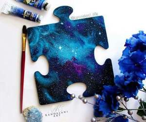 art, blue, and puzzle image