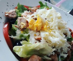 Chicken, salad, and egg image