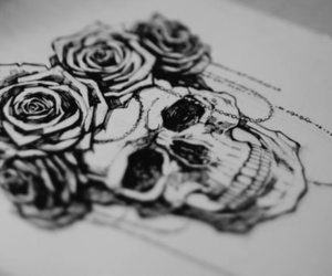 art, skull, and drawing image