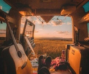 guitar, travel, and sunset image