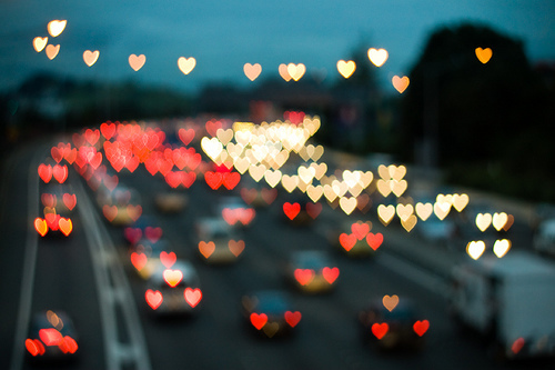 hearts, car, and light image