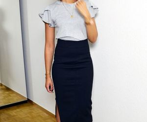 casual, pencil skirt, and fashion image