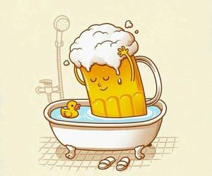 bath tub, bathroom, and beer image