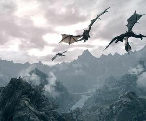 dragon, fantasy, and mountains image