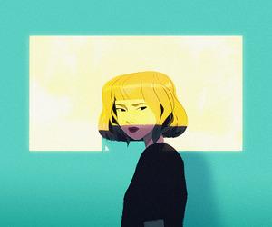 art, black, and blonde image
