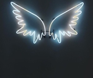 neon, wings, and angel image
