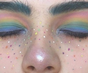 rainbow, aesthetic, and makeup image