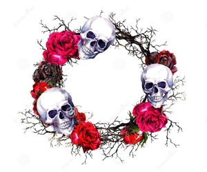 flowers, skull, and wreath image