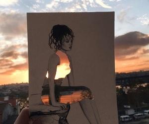 art, sunset, and sky image