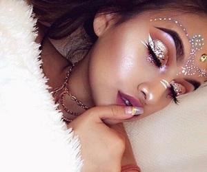 makeup, girl, and glitter image