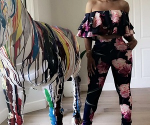 fashion, floral outfit, and blac chyna image