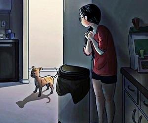 animation, dog, and girl image