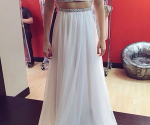 celebrity dress, long prom gown, and two pieces prom dress image